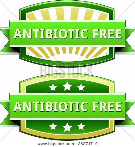 Antibiotic free food label, badge or seal with green and yellow color in vector poster
