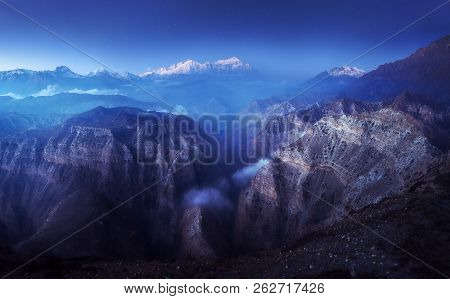 Panoramic View In The Early Morning On The Canyon. Upper Mustang, Himalayas