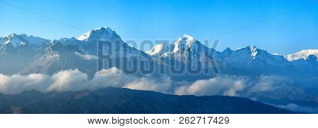 Beautiful Panoramic View Of Snow Mountains Range Upper Mustang, Annapurna Conservation Area, Trekkin