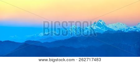 Beautiful Panoramic View Landscape At Sunrise In Mountains National Park Lantang, Himalaya.
