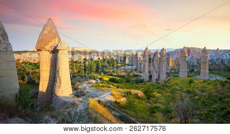 Panoramic View Of Love Valley With Beautiful Rocks Near Goreme Village, Cappadocia, Turkey