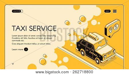 Taxi Online Ordering Service With Trip Cost Calculation Vector Web Banner Or Landing Page With Cab G