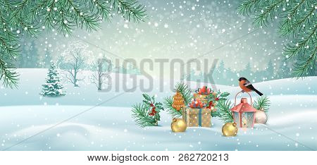 Vector Christmas Winter Landscape With A Bird, Christmas Tree, Vintage Lamp And Decorations. Winter