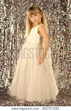 Elegance And Stylish Look. Elegance, Little Girl In Dress.