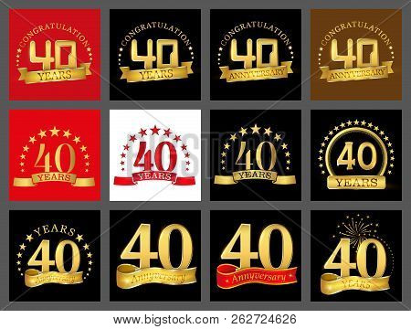 Set Of Number Forty Year (40 Year) Celebration Design. Anniversary Golden Number Template Elements F