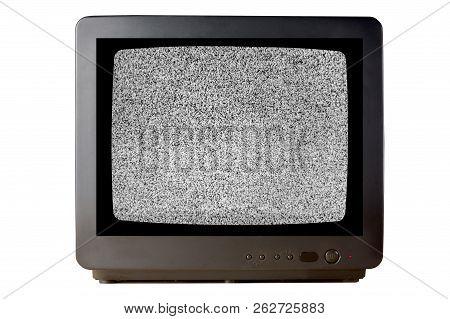 Old Vintage Tv Set Televisor Isolated On White Background With No Signal Television Grainy Noise Eff