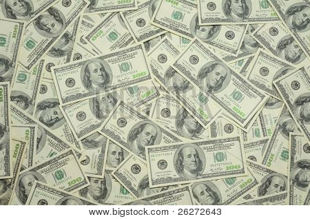 Background of US one hundred dollar bills