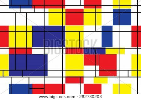 Seamless abstract geometric colorful mosaic vector pattern for continuous replicate. Abstract modern painting in mondrian style, seamless pattern poster