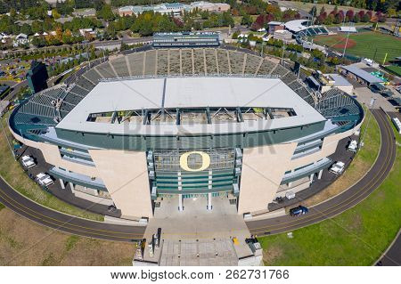 October 11, 2018 - Eugene, Oregon, USA: Autzen Stadium is an outdoor football stadium in the northwest United States, in Eugene, Oregon.