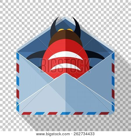 Envelope Icon With Bug Inside In Flat Style With Long Shadow On Transparent Background. Concept Of A