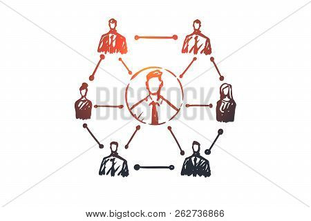 Crm, Customer, Business, Analysis, Marketing Concept. Hand Drawn System Of Business Concept Sketch.
