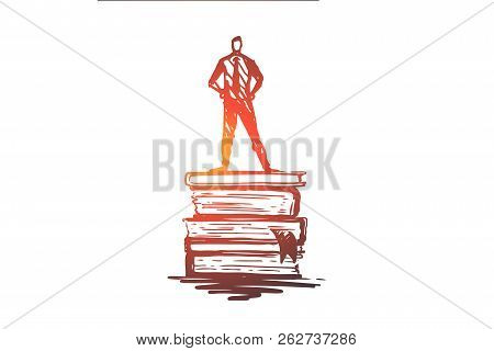 Knowledge, Book, Education, Information, Learn Concept. Hand Drawn Man Standing On Books Concept Ske
