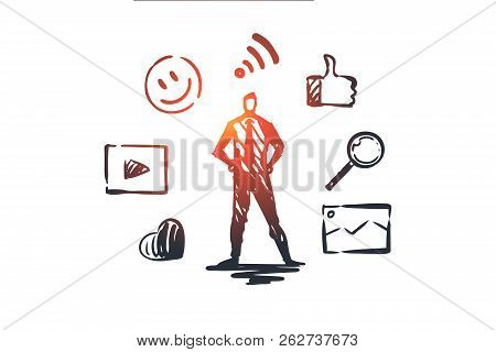 Content, Internet, Media, Strategy, Network Concept. Hand Drawn Content Manager And Symbols Of Netwo