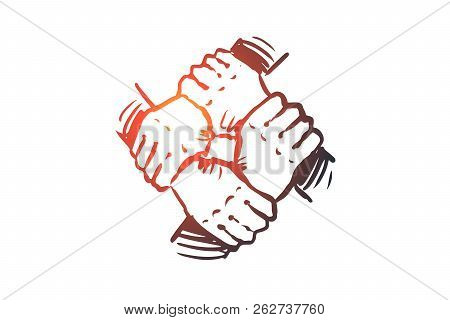 Team Spirit, Together, Connection, Partnership Concept. Hand Drawn Hand Holding, Team Concept Sketch