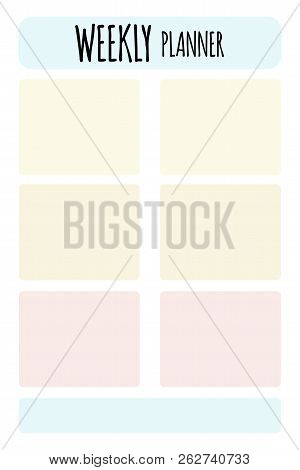 Vector Planner. Format A4. Cute Page For Notes. Notebooks, Diary, School Accessories. Cute Romantic