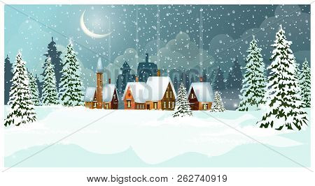 Snowy Winter Landscape With Cottages And Fir-trees Vector Illustration. Night Country Scene. Christm