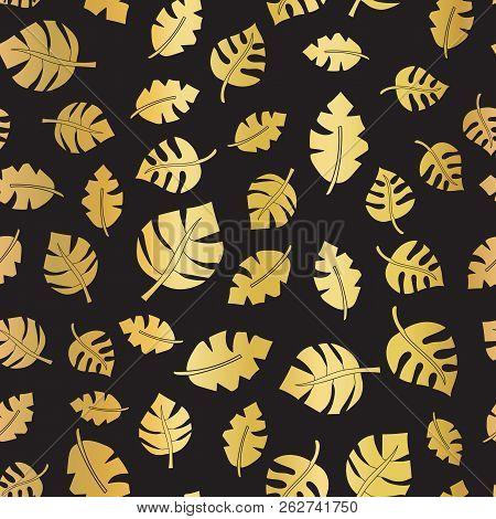 Gold Foil Leaves Seamless Vector Background. Shiny Leaf On Black Pattern. Shiny Metallic Elegant Bac