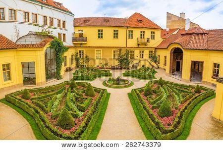 Vrtba Garden Or Vrtbovska Zahrada In Old Town Of Prague In Czech Republic
