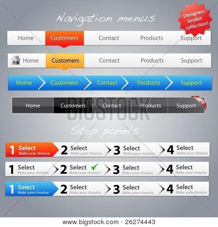 Web designers toolkit - Navigation menus and step panels