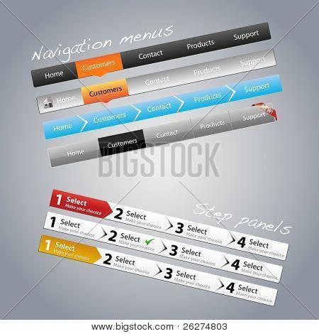 Navigation menus and step panels