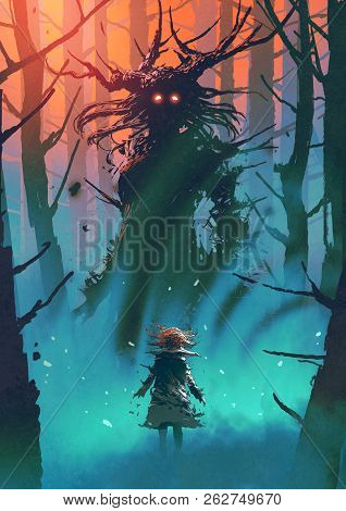 Little Girl And The Witch Looking Each Other In A Forest, Digital Art Style, Illustration Painting