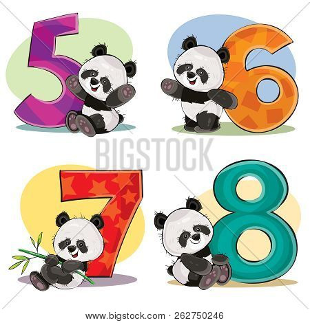 Set Of Cute Baby Panda Bears With Numbers Cartoon Illustration. Clipart For Greeting Card For Kids B