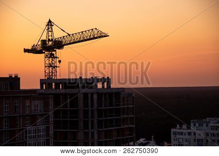 Crane,construction Tower Crane Equipment Over Building Construction Site Silhouette,industrial Const
