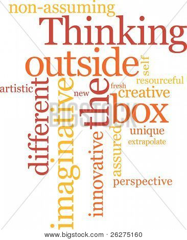 Thinking outside the box word cloud poster