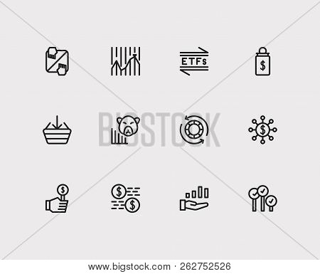 Finance Icons Set. Stock Market And Finance Icons With Bid, Capitalization And Broker. Set Of Deposi
