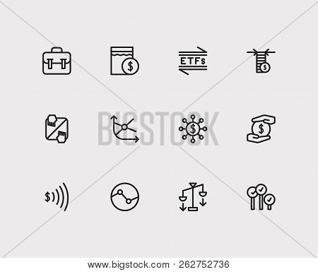 Finance Icons Set. Portfolio And Finance Icons With Stock Sector, Hedge Funds And Going Long. Set Of