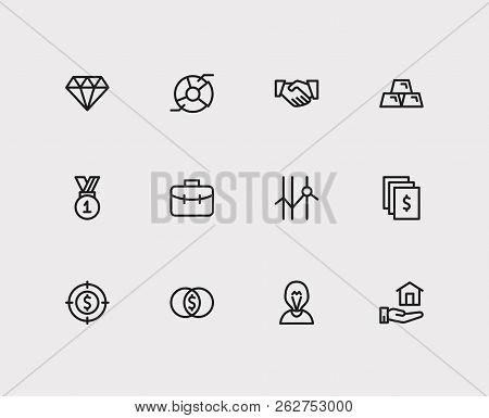 Economy Icons Set. Cooperation And Economy Icons With Stock, Gold And Investment Target. Set Of Depo