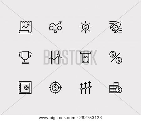 Investment Icons Set. Investment Target And Investment Icons With Funds Protection, Profit And Stock