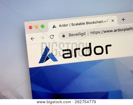 Amsterdam, Netherlands - October 12, 2018: Website Of Ardor Coin, A Digital Cryptocurrency Based On