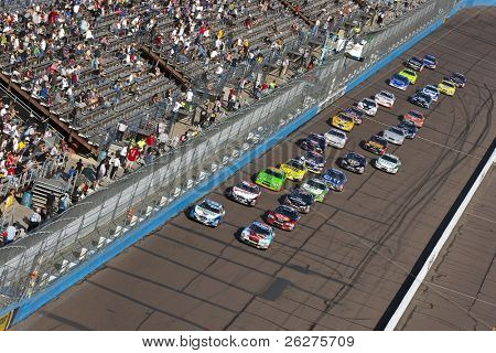 AVONDALE, AZ - NOV 14: The NASCAR Nationwide Series teams take to the track for the Able Body Labor 200 race at the Phoenix International Raceway on November 14, 2009 in Avondale, AZ.