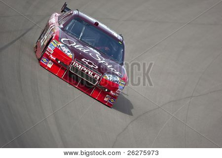LAS VEGAS, NV - FEB. 26:  Tony Stewart brings his car through the turns during their practice session for the Shelby 350 race at the Las Vegas Motor Speedway Feb 26, 2010 in Las Vegas, NV