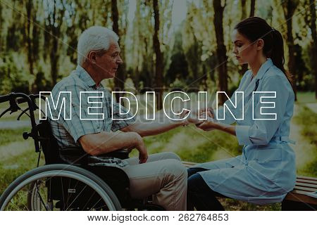 Caring For Elderly Peoples. Old Man. Wheelchair. Sunny Park. Doctor. Nursing Home. Retirement. Pensi
