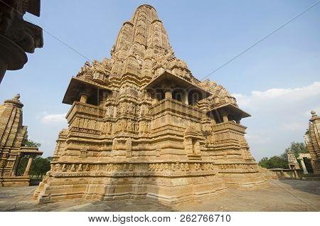 Lakshmana Temple, Facade - Back View - Wall And Shikara, Western Group, Khajuraho, Madhya Pradesh, I