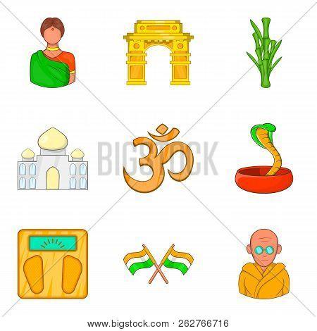 Yoga Place Icons Set. Cartoon Set Of 9 Yoga Place Icons For Web Isolated On White Background