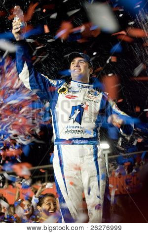FONTANA, CA - AUG 29:  Jimmie Johnson celebrates after winning at Auto Club Speedway for the running of the NSCS Pepsi 500  on Aug 29, 2009 in Fontana, California