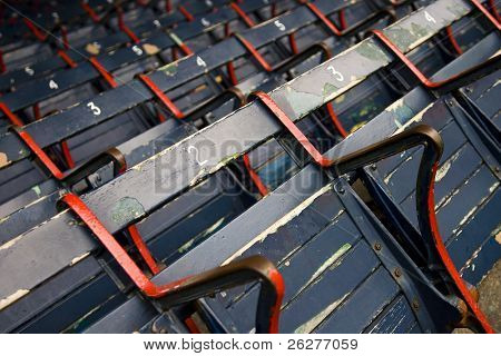 Rows of empty seats in a ballfield