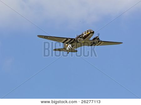 CONCORD, NC - MAY 30:  A C-47 WWII airplane performs a flyover before the Coca-Cola 600 Race at the Charlotte Motor Speedway in Concord, NC on May 30, 2010