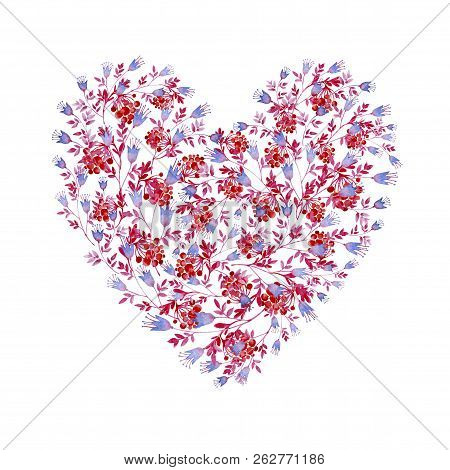 Floral Blue, Pink And Red Heart Shaped. Cliparts For Wedding Design, Artistic Creation.