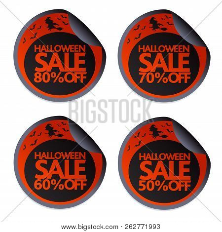 Halloween Sale Stickers With Witch On A Broomstick  50,60,70,80.vector Illustration