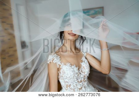 Bride And Wedding Concept. Portrait Of A Young Beautiful Sexy Tender Bride In White Lace Wedding Dre