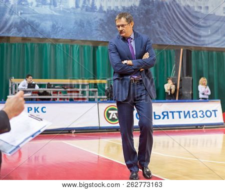 Samara, Russia - December 17: Bc Krasnye Krylia Head Coach Sergey Bazarevich Walks Next To Sideline