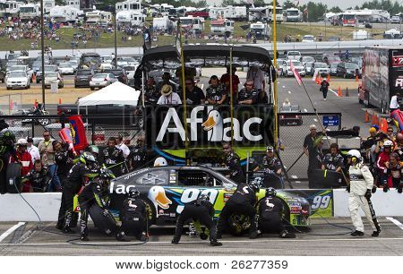 LOUDON, NH - JUNE 27: Carl Edwards makes a pit stop for the LENOX Tools 301 race at the New Hampshire Motor Speedway in Loudon, NH on June 27, 2010