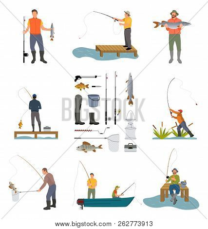 Fishing People And Items Related To Men Hobby. Posters Set With Rod, Landing Net And Rubbers High Wa