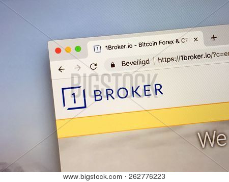 Amsterdam, Netherlands - October 12, 2018: Website Of 1broker, A Cryptocurrency Trading Platform.