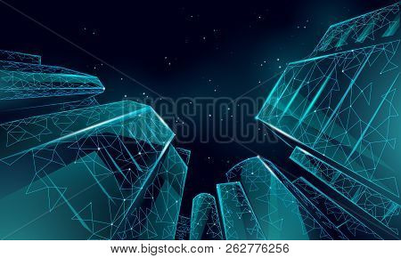 Polygonal Low Angle Business Modern Glass Buildings. Skyscrapers High Rise Reach Sky City Scenery. F