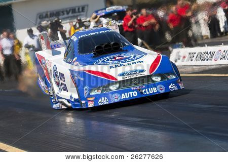 GAINESVILLE, FL - MAR 14:  Robert Hight brings his Auto Club Funny Car down the track during the 41st Annual Gatornationals at the Gainesville Raceway in Gainesville, FL on Mar 14, 2010.